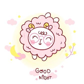 Dessin animé mignon mouton bonne nuit bébé avec lune