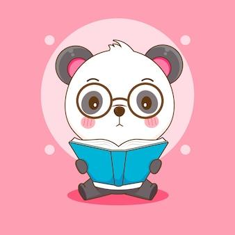 Dessin animé de mignon nerd panda avec des lunettes en lisant un livre
