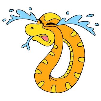 Un dessin animé mignon nettoie et jette des ordures à sa place, l'animal serpent pleurait de tristesse.