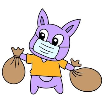 Un dessin animé mignon nettoie et jette des ordures à sa place, image d'icône de griffonnage. dessin animé mignon doodle dessiner