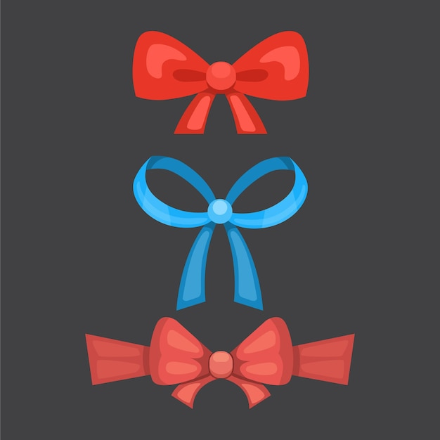 Dessin animé mignon noeuds de cadeau avec des rubans. cravate papillon de couleur.