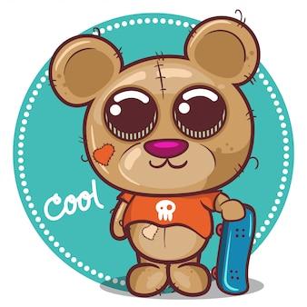 Dessin animé mignon nounours garçon avec planche à roulettes - vecteur