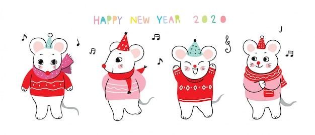 Dessin animé mignon nouvel an souris danse