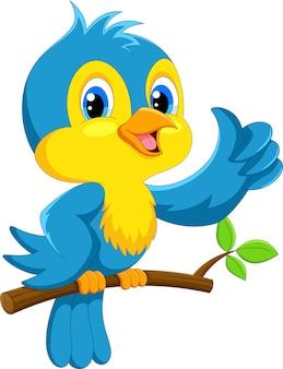 Dessin animé mignon oiseau bleu
