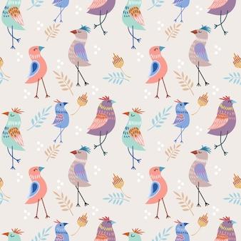 Dessin animé mignon oiseau design textile tissu modèle sans couture.
