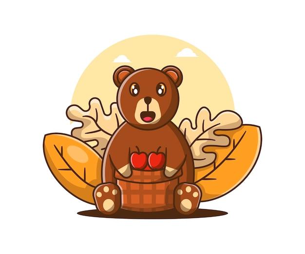 Dessin animé mignon ours d'automne