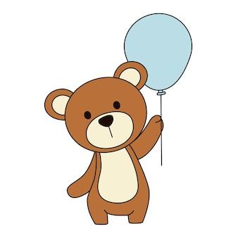 Dessin animé mignon ours avec ballon bleu.