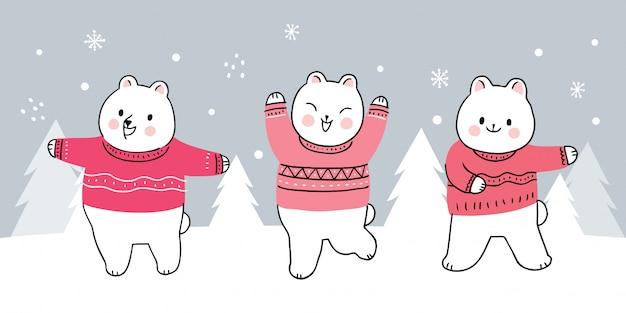 Dessin animé mignon ours d'hiver
