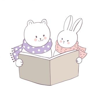 Dessin animé mignon ours et lapin vecteur de livre de lecture.