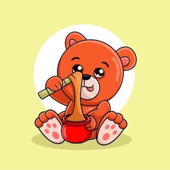 Dessin animé mignon ours manger du miel