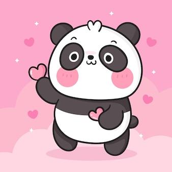 Dessin animé mignon ours panda tenant animal kawaii coeur
