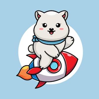 Dessin animé mignon ours polaire équitation fusée