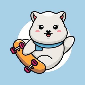 Dessin animé mignon ours polaire jouer à la planche à roulettes