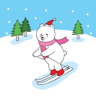 Dessin animé mignon ours polaire vecteur de ski.