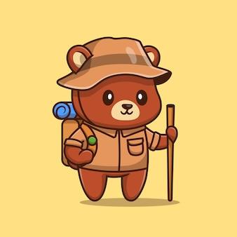 Dessin animé mignon ours randonnée