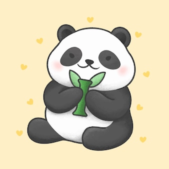 Dessin animé mignon panda bear