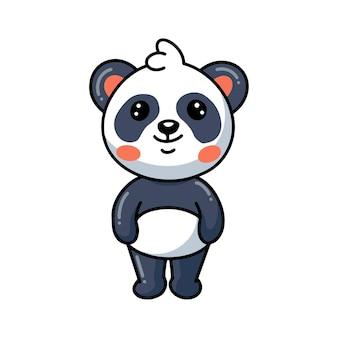 Dessin animé mignon panda buvant du café