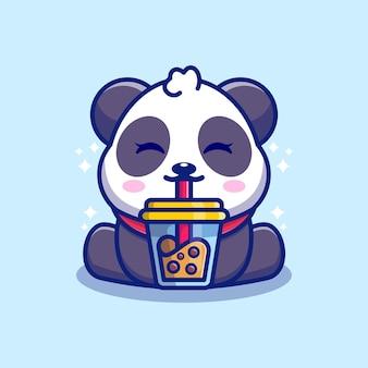 Dessin animé mignon panda buvant du thé au lait boba