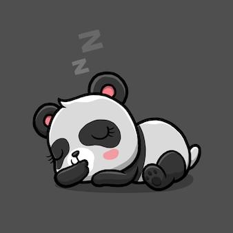 Dessin animé mignon panda endormi