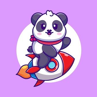 Dessin animé mignon panda équitation fusée