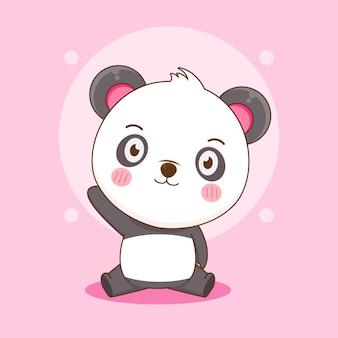 Dessin animé de mignon panda heureux assis