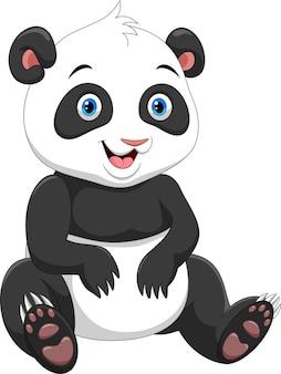 Dessin animé mignon panda isolé sur blanc