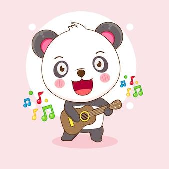 Dessin animé mignon panda jouant de la guitare