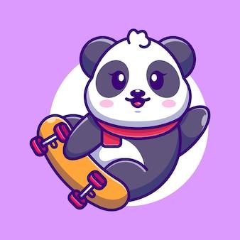 Dessin animé mignon panda jouer à la planche à roulettes