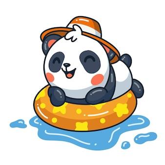 Dessin animé mignon de panda nageant sur l'anneau de piscine gonflable