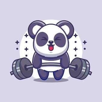 Dessin animé mignon panda soulevant des poids