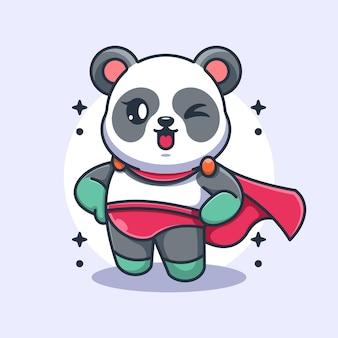 Dessin animé mignon panda super héros