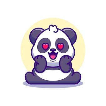 Dessin animé mignon panda tombant amoureux
