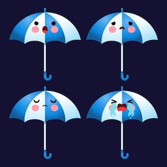 Dessin animé mignon parapluie émoticône avatar visage émotions négatives ensemble