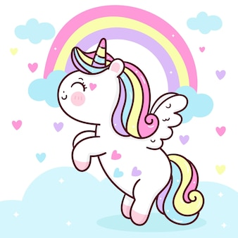 Dessin animé mignon pégase licorne voler sur le ciel avec arc-en-ciel et coeur animal kawaii