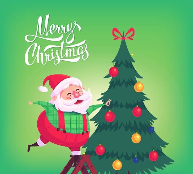Dessin animé mignon père noël décorant l'arbre de noël illustration de joyeux noël carte de voeux poster