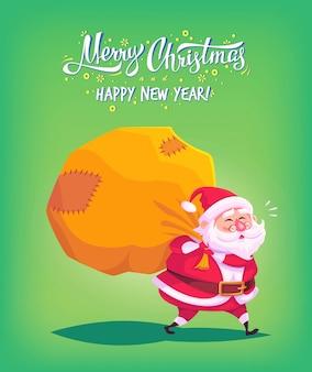 Dessin animé mignon père noël offrant des cadeaux dans un grand sac illustration de joyeux noël carte de voeux poster