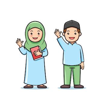 Dessin animé mignon personnage musulman enfants étudiant