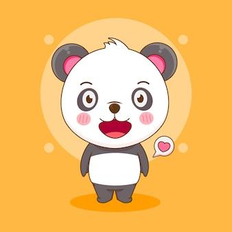 Dessin animé de mignon personnage panda heureux