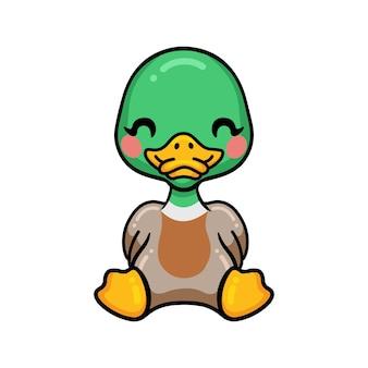 Dessin animé mignon petit canard assis