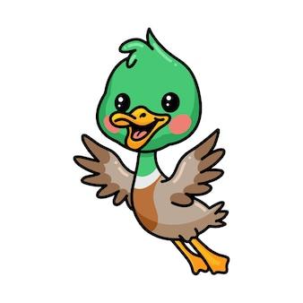 Dessin animé mignon petit canard volant