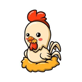 Dessin animé mignon petit coq assis dans un nid