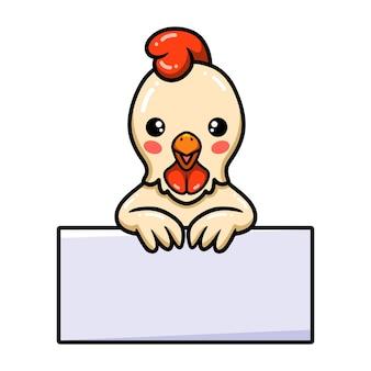 Dessin animé mignon petit coq avec signe vierge