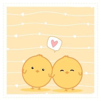 Dessin animé mignon petit couple de poulet doodle wallpaper