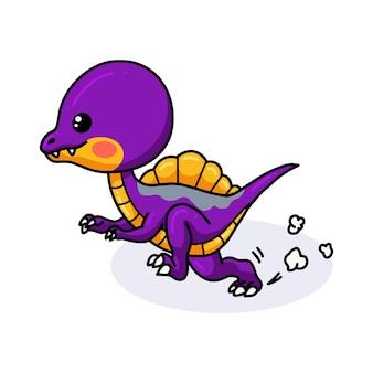 Dessin animé mignon petit dinosaure violet en cours d'exécution