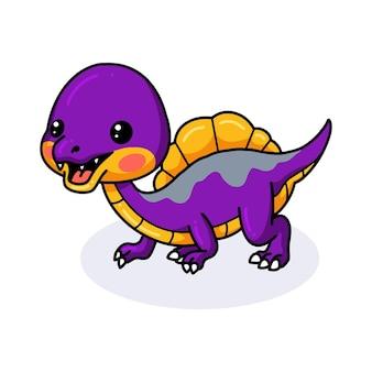 Dessin animé mignon petit dinosaure violet