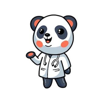 Dessin animé mignon petit docteur panda
