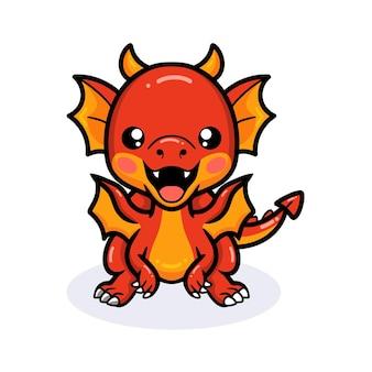 Dessin animé mignon petit dragon rouge