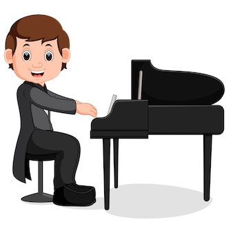 Dessin animé mignon petit garçon jouant du piano