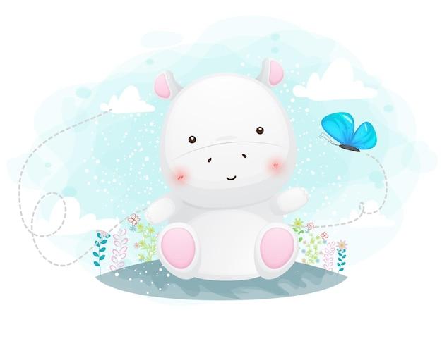 Dessin animé mignon petit hippopotame assis