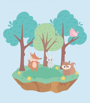 Dessin animé mignon petit lapin renard oiseau et écureuil